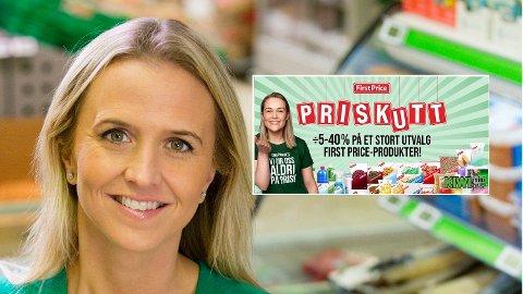 NYE KUTT: Prisane blir kutta med opp til 50 prosent på ei rekke First Price-produkt. Her Kristine Aakvaag Arvin, kommunikasjonssjef i Kiwi.