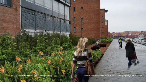 GRØNNERE: Denne illustrasjonen viser hvordan promenaden kan bli i fremtiden. Den er laget av Berg Landskap og Design AS.