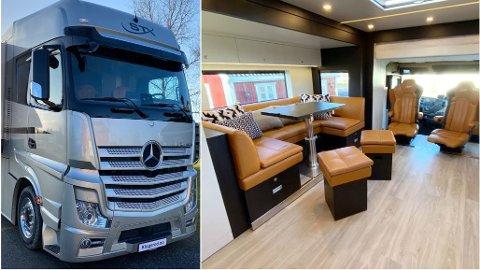 Slik ser det ut i stuen iNorges dyreste bobil for øyeblikket. Denne Mercedesen koster nesten 9 millioner kroner. Kingsrød Trading regner med å selge 2-3 i året.