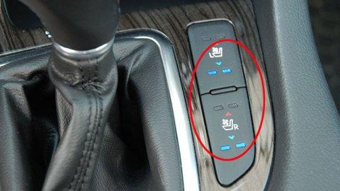 Rødt betyr varme i forsetene – blått betyr behagelig kald luft som virkelig svaler på varme sommerdager. Utstyr som tidligere var forbeholdt de aller dyreste bilene, begynner nå å komme på langt mer folkelige modeller. Dette er fra Kia Optima.