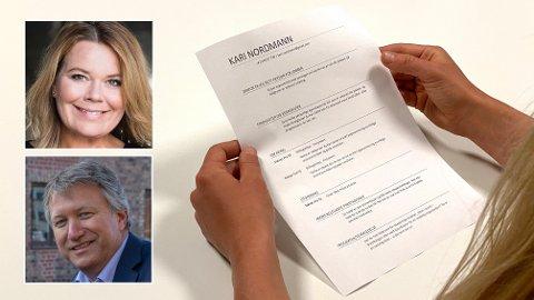 TIPS: Trine Larsen i Hammer & Hanborg og Ole Jan Rimstad i Prime Executive har mange tips til hvordan du bør skrive en god CV.