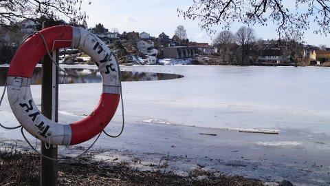 FUGLESIKKER IS? Det var heldigvis ikke noen mennesker ute på isen i Nesparken da Moss Avis var der halv tolv søndag formiddag.