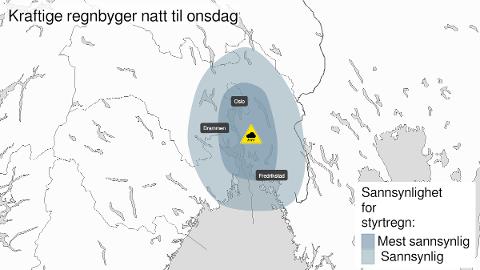 FAREVARSEL: Grunnet fare for mye nedbør har Meteorologisk institutt sendt ut gult farevarsel i mosseregionen.