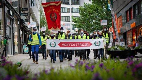 LANVARIG STREIK: Etter flere måneder med streik, kom partene til enighet torsdag. Vekterne vender tilbake på jobb fra fredag.