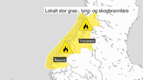 FARE: Frem til lørdag har yr.no satt farevarsel for skogbrann i Fjordane, Møre og Romsdal og Trøndelag.