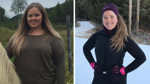 NY LIVSSTIL: Malin Sofie Westby Andersen har gått ned mye i vekt siden 2017. Bildene viser forskjellen på før og nå.