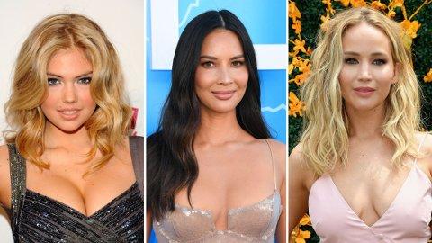 Supermodell Kate Upton (t.v.) og skuespillerne Olivia Munn (midten) og Jennifer Lawrence opplevde alle tre at svært private og intime nakenbilder ble stjålet og publisert på nett. Fem gjerningsmenn ble dømt til mellom 8 og 34 måneder i fengsel.