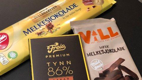 KALORIVERSTING: Av disse tre sjokoladene er den mørke sjokoladen, med 86 prosent kakao, kaloriverstingen. Den har 16 prosent flere kalorier enn den tradisjonelle melkesjokoladen.