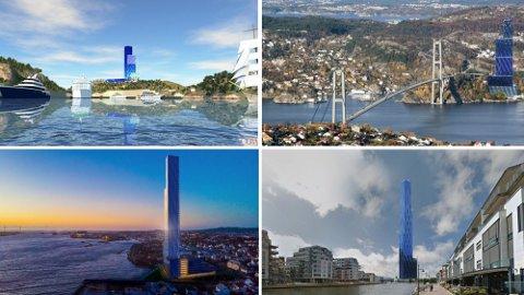 Vil ha Røkke-tårnet: Mandal (øverst fra venstre), Askøy, Haugesund og Fredrikstad er blant kommunene som ønsker Røkkes skyskraper Det store blå til byen. Bildene viser illustrasjoner av hvordan tårnet kan se ut i bybildet.