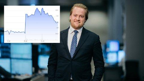 Positiv: Analytiker i DNB Markets, Christoffer Wang Bjørnsen, tror aksjekursen kan mangedoble seg de neste årene. Grafen viser hvordan aksjekursen har utviklet seg den siste uken.