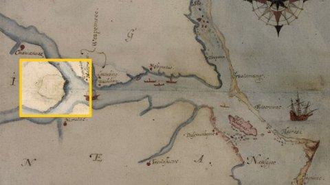 SKJULT: Bak denne fliken på dette kartet kan løsningen på mysteriet om Roanoke-kolonien være.