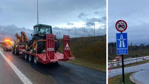ULOVLIG: Her var det slutt på turen. Og ulovlig kjøring på motorvei var ikke det eneste kontrollørene slo ned på. Foto: Statens vegvesen.