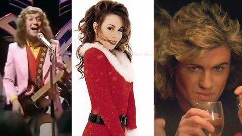 Millionbutikk: De kjente og kjære julesangene dukker opp på hitlistene hver desember. Det tjener opphavspersonene godt på. Fra venstre: Noddy Holder, Mariah Carey og George Michael. Sistnevnte døde i 2016.