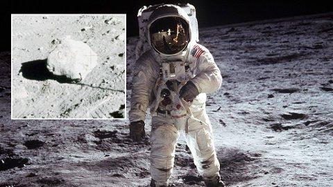 Historisk: Månelandingen har fascinert en hel verden i over 50 år. Men mange mener dette bildet av Buzz Aldrin på månen, og hele månelandingen, bare er en bløff. De mener blant annet denne steinen med bokstaven C beviser det.