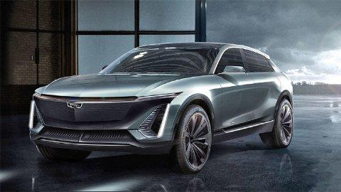 TAR OPP KAMPEN: Dette er Cadillac Lyriq, den første elbilen fra det amerikanske merket. Dette er en SUV som skal kjempe om de samme kundene som Tesla og Audi e-tron.