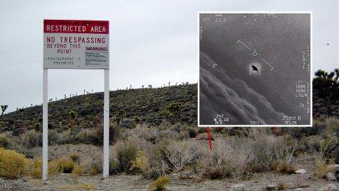 Mystisk: Amerikanske myndigheter har gjennom årene forsket mye på UFO-er. Bildet til høyre er av et uidentifisert flyvende objekt, observert i 2015. Til venstre grensen til Area 51, et myteomspunnet treningsanlegg i Nevada.