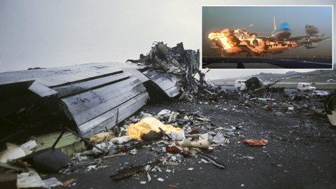 Katastrofe: Slik så det ut på ulykkesstedet etter to jumbojet-fly krasjet med hverandre. Innfelt bilde er fra en illustrasjonsvideo som viser hvordan ulykken skjedde.