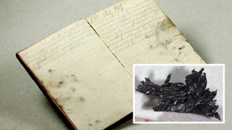 DAGBOK: Denne dagboken var det eneste den danske oppdageren Jørgen Brønlund etterlot seg i en hule på Grønland.