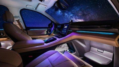 Dette interiøret finner du i den elektriske SUV-en Nio ES8. Fra 2022 er planen at denne, og flere andre modeller fra Nio, skal få faststoff-batterier. Det vil gjøre det mulig å øke rekkevidden betydelig.