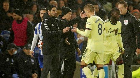 BYTTET UT: Martin Ødegaard ble tatt av med 25 minutter igjen av kampen.