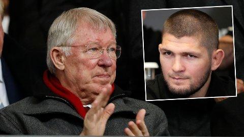 PÅ KAMP: Sir Alex Ferguson og Khabib Nurmagomedov fulgte med på lørdagens oppgjør mellom Manchester United og Everton.