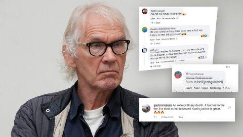 HAT: Flere mennesker har godtet seg over dødsfallet til den svenske kunstneren Lars Vilks. Han har levd med politibeskyttelse etter at han tegnet profeten Muhammed som en hund.