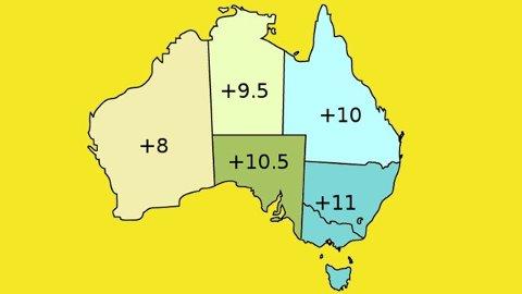 SPØRSMÅL OM TID: Slik fordeler de ulike tidssonene i Australia seg sommerstid.