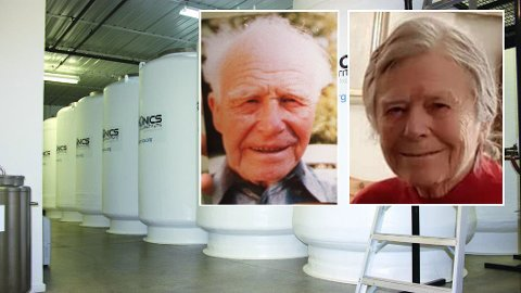 Ligger på tank: Aud Reidun Morstøl døde 13. januar og har siden vært nedfryst. Nå legges hun ned i en slik tank på Cryonics Institute i Michigan i USA. Samtidig har faren hennes, Bredo, vært nedfryst i en bod i over 30 år.