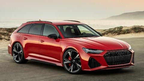 Audi RS 6 er et aldri så lite bilikon – og veldig populær i Norge. Forrige generasjon holder seg svært godt i pris – selv etter lanseringen av den nye. Under panseret på den nye (bildet) sitter det en brautende V8-motor. Og kraftige bensinmotorer blir ikke borte helt ennå.