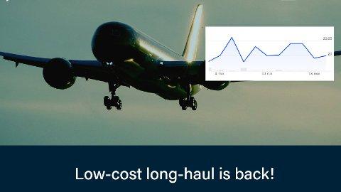 TIL HIMMELS?: Aksjeekspertene i Delphi Fondene har stor tro på det nye flyselskapet. De forventer en kursøkning etter hvert som samfunnet begynner å åpne igjen. Bildet er hentet fra selskapets nettside. Det innfelte bildet viser kursen de siste ukene.