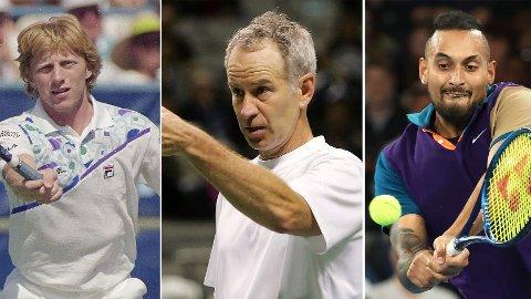 HISSIGE STJERNER: Boris Becker, John McEnroe og Nick Kyrgios er alle kjent for sine å være bra i tennis, men er vel så kjent for andre ting - som å knuse racket, krangle med dommere og utenomsportslige hendelser.