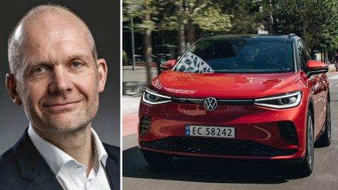 Ulf Tore Hekneby, administrerende direktør i Harald A. Møller, er lite begeistret for AP, SV og SPs vedtak om å innføre moms på elbiler dyrere enn 600.000 kroner.