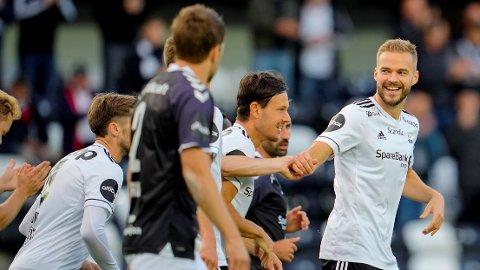 SCORET: Rosenborgs Hólmar Örn Eyjólfsson scoret Rosenborgs første.