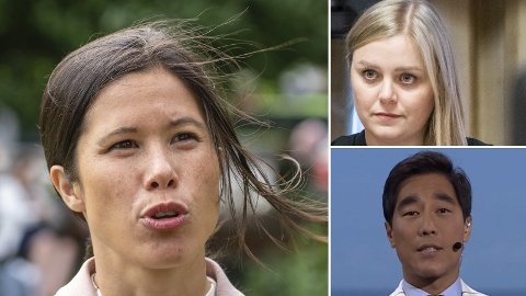 OLJEKRANGEL: NRK-programleder Fredrik Solvangs (nederst til h.) bruk av en upublisert rapport bestilt av «oljelobbyen» har fått Lan Marie Berg (MDG) til å tenne på alle plugger. - MDG har kunne tomme slagord, repliserer oljeminister Tina Bru.