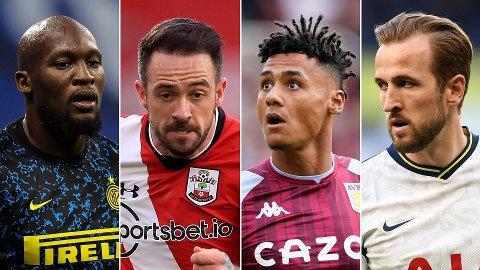AKTUELLE: Romelu Lukaku, Danny Ings, Ollie Watkins og Harry Kane kan om ikke lenge være aktuelle i henholdsvis Chelsea, Aston  Villa og Tottenham eller Manchester City.