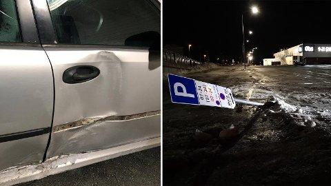 Bilen fikk en kraftig bulk etter hendelsen. Skiltet fi