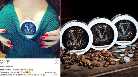 SKREKKSNUS: Russiske selskaper bruker sex og pupper til å selge snus med fire ganger så mye styrke som lovlig snus i Norge. Foto: Velvet