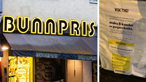 KORONATILTAK: Bunnpris lar kun maks 8 personer komme inn i butikken om den er maks 100 kvadratmeter. Foto: Audun Braastad (NTB) / Halvor Ripegutu (Mediehuset Nettavisen)