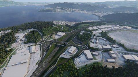 Illustrasjoner i forbindelse med utbygging av ny E6 nord for Trondheim. Dette er fra Sveberg i Malvik.