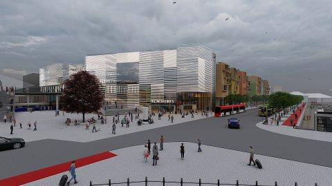 Illustrasjonsbildet viser hvordan området rundt det nye stasjonsbygget kan bli seende ut.