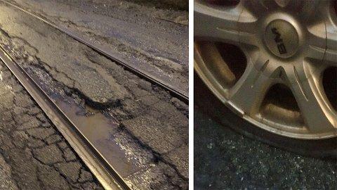 I OPPLØSNING: Veien ved trikkeskinnene i Ila er i full oppløsning. For Anette endte det med skade på bilen.