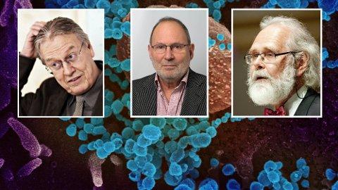 Usikker fremtid: Koronakrisen kan vare i lang tid. Men professorene Steinar Westin (f.v.), Dag Steinar Thelle og Nils Chr. Stenseth tror noen av restriksjonene snart vil lette.