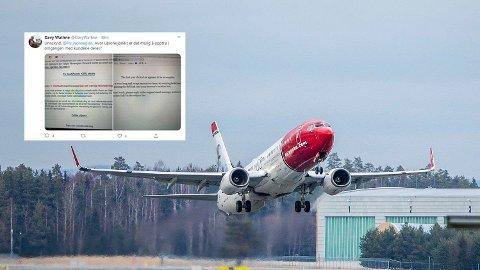 Flere kunder har mottatt en e-post om refusjon av Norwegian tirsdag. Likevel får de ikke hjelpen de trenger for å få tilbake pengene sine. Foto: Ole Berg-Rusten / NTB scanpix