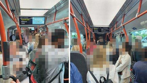 TETT: Dette bildet er fra tidligere i sommer, og viser at folk står tett på bussene. Et forslag om gratis parkering for å motvirke dette ble i dag nedstemt i formannskapet.