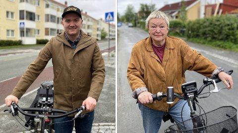 IKKE FORNØYD: Syklistene Per Bjarne Løvsletten og Siv Bleiklie gir klare tilbakemeldinger på sykkelsatsingen i Trondheim.
