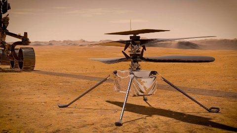 En Nasa-illustrasjon av minihelikopteret «Ingenuity».