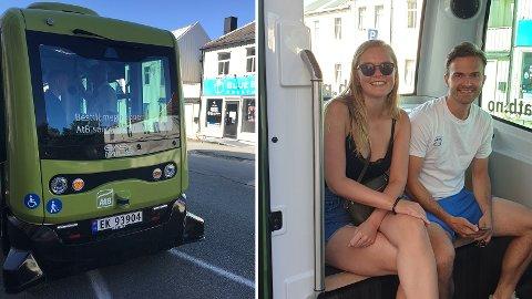 Sander Nordeide og Mari Benum prøver den nye, selvkjørende bussen.