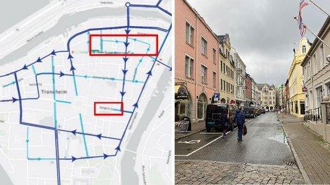 GÅGATE? Kartet viser kjøremønsteret kommunedirektøren anbefaler i Midtbyen frem mot 2030. I flere av gatene her foreslås også det de kaller for «gågater».