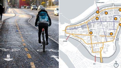 ANBEFALES IKKE: Politikerne vil fylle Midtbyen med sykkelveier som på bildet. Det fraråder kommunedirektøren mot.