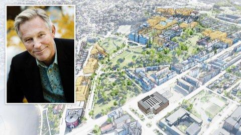 STORE PLANER: NTNU har foreslått å bygge i Høyskoleparken når ny campus skal bygges ut. Det er til høyre på bildet her. De har også foreslått å bygge verneverdige hus i Grensen og ved Høyskoleveien, som er til venstre på bildet.